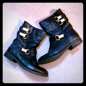 Steve Madden leather Moto boots gold buckles